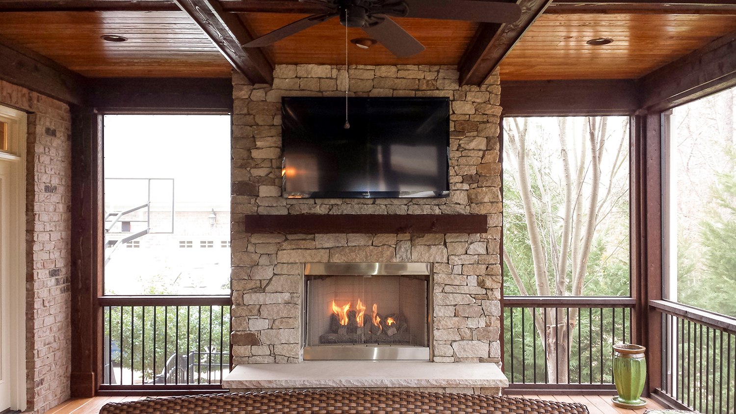 screened in porch with fireplace. Stone Fireplace And Screen Porch, Fort Mill, SC Screened In Porch With